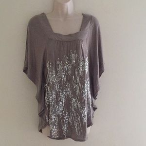 INC Grey Waterfall Sequined Dolman Top